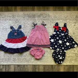 Other - 12 Month bundle of baby girl 4th of July dresses